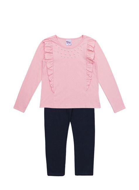 1 1063 conjunto meia malha e cotton infantil menina bordado bem vestir cjt